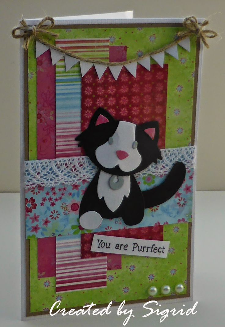 Card by DT member Sigrid with Collectables Cat (COL1353) by Marianne Design