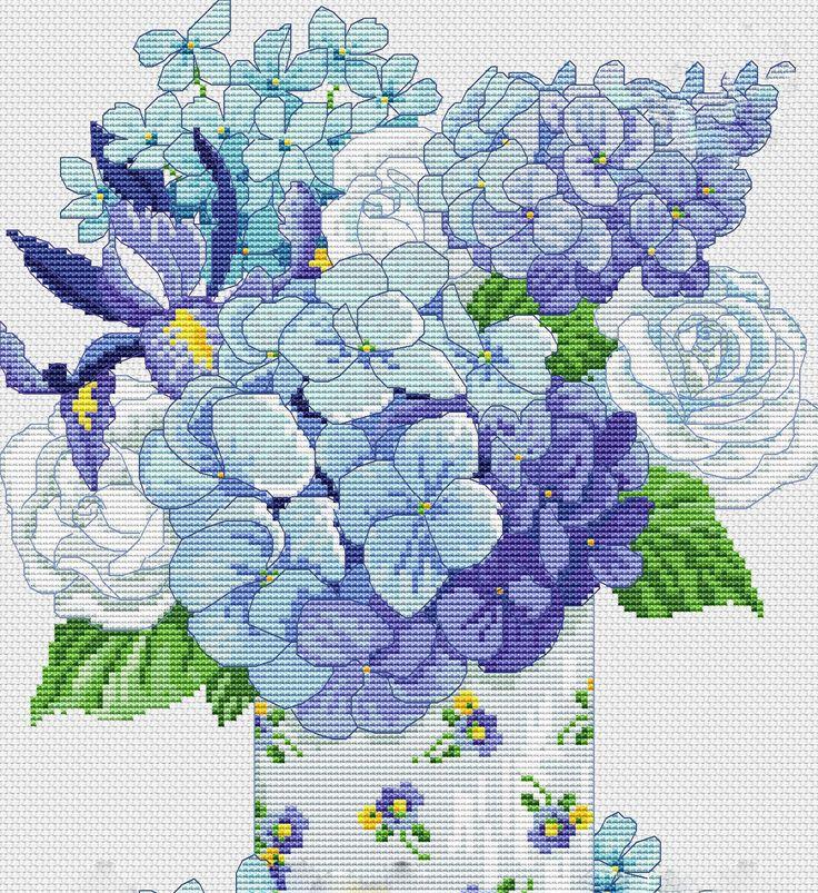 Saksıda Kanaviçe Çiçek Örnekleri (1)