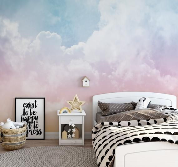 Rainbow Clouds Ombre Removable Wallpaper Clouds Ombre Peel Etsy In 2020 Removable Wallpaper Peel And Stick Wallpaper Wall Murals
