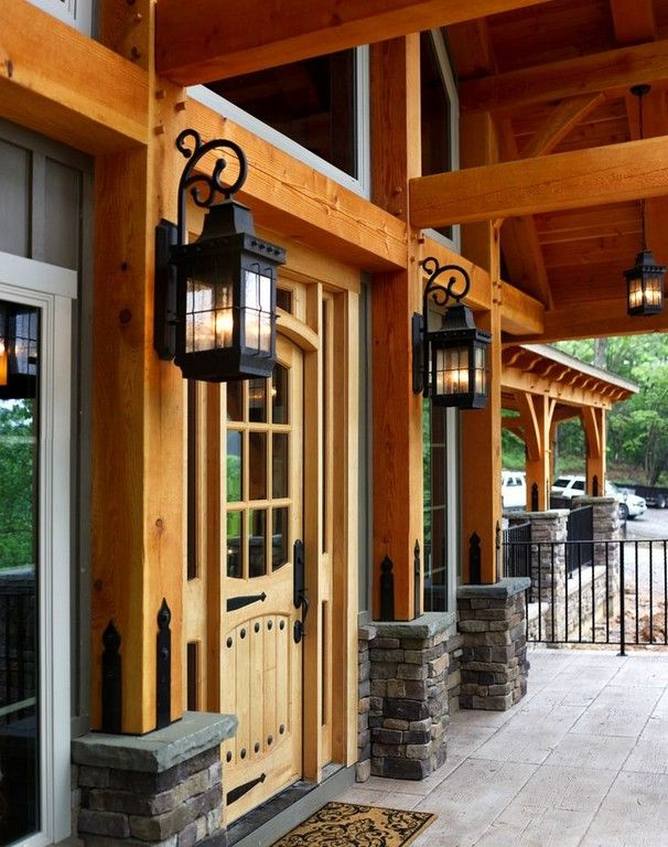 30 Awesome Timber Frame Porch Ideas The Urban Interior Timber Frame Porch Rustic House Timber Frame Homes