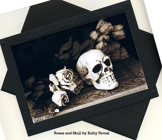Gothic Skull Note Card Roses And Skull Stationary By KathyFornal, $7.50.