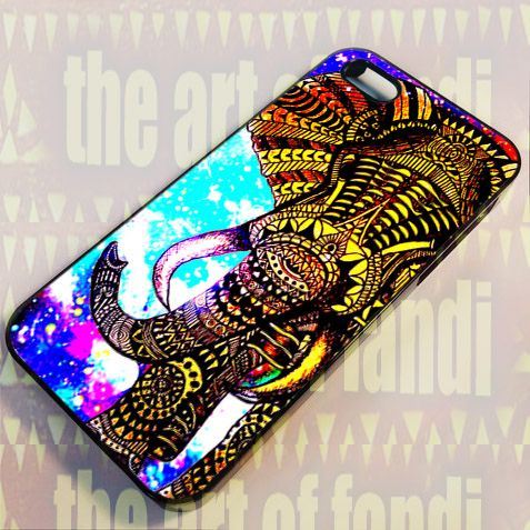 Elephant Aztec Gold Nebula For iPhone 5 Black Rubber Case