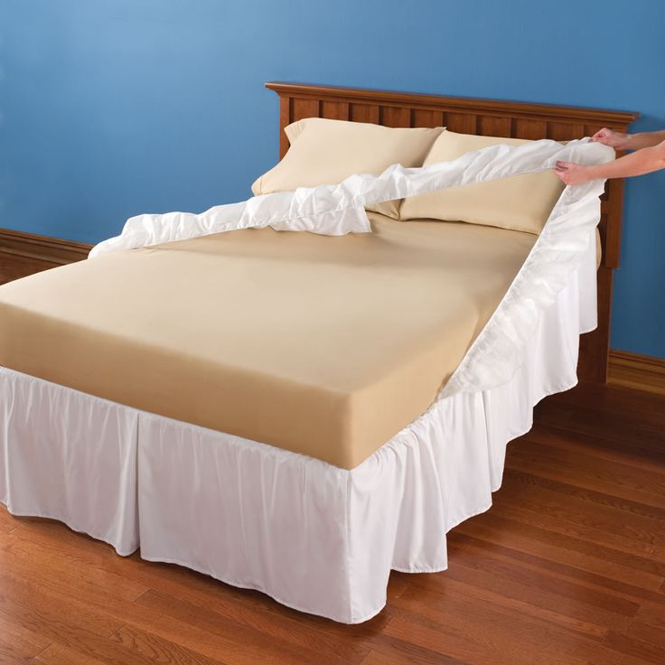 The Easy On and Off Dust Ruffle - Hammacher Schlemmer - This is the dust ruffle that slips on and off easily without lifting the mattress.