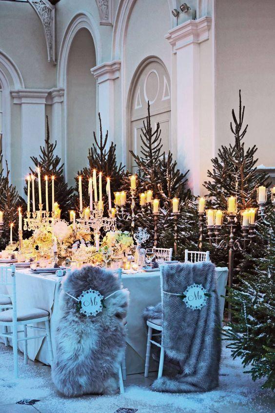 Faux Fur Winter Wedding Chair Decors / http://www.deerpearlflowers.com/faux-fur-winter-wedding-ideas/2/