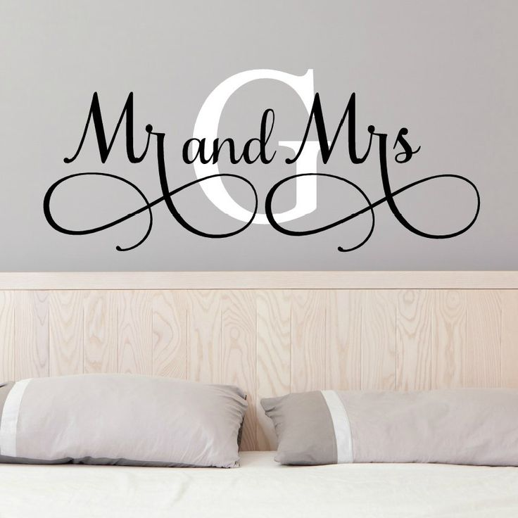 Mr And Mrs Wall Decals - Mr and Mrs Stickers - Newlywed Wall Decals - Monogram Wall Decal - Monogrammed Wall Decal - Romantic Christmas Gift (19.99 USD) by VinylWritten