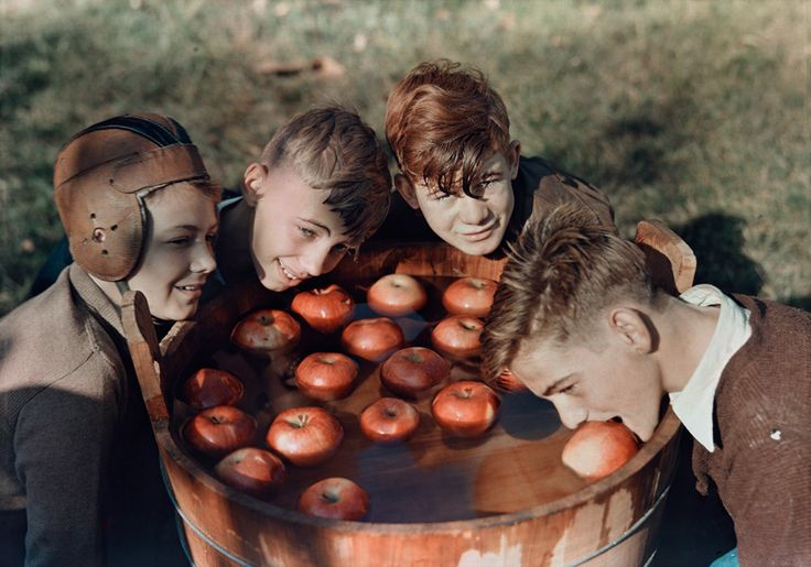 Four boys bob for apples in Martinsburg, West Virginia, 1939.Photograph by B. Anthony Stewart, National Geographic