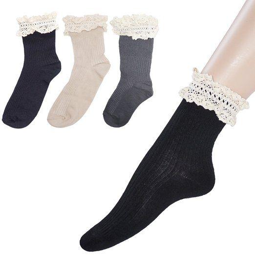 Donna annata pizzo arruffato calzini con rouches calzini di cotone di avvio, moda regali di compleanno occasione per ragazza (4 paia 2 nero / 1 grigio / 1 tan)