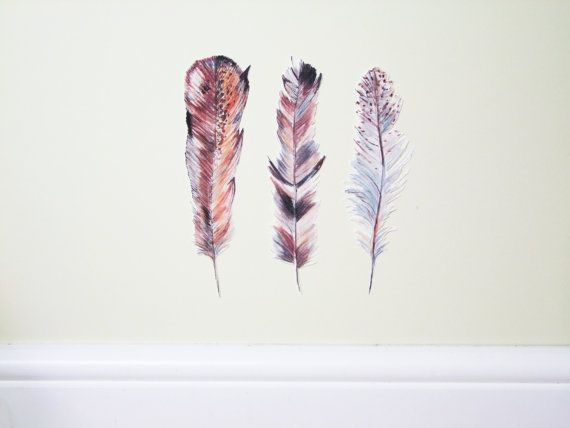 Feathers Wall decal Rustic decor nursery decor by TheWoodlandHaven