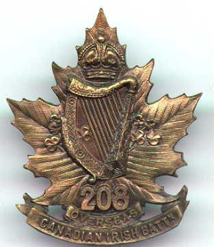 Canadian Irish Battalion cap badge