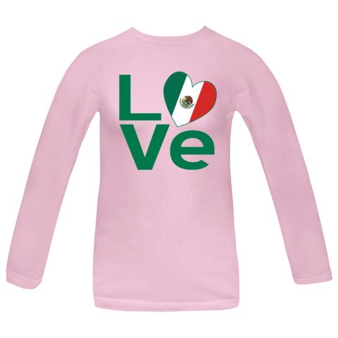 """Fun design for Valentine's Day, Christmas, Cinco de Mayo, or any special time, features The word """"LOVE"""" using a heart-shaped Flag of Mexico, or Mexican Flag, for the """"O"""". $27.99 ink.universalflags.com"""