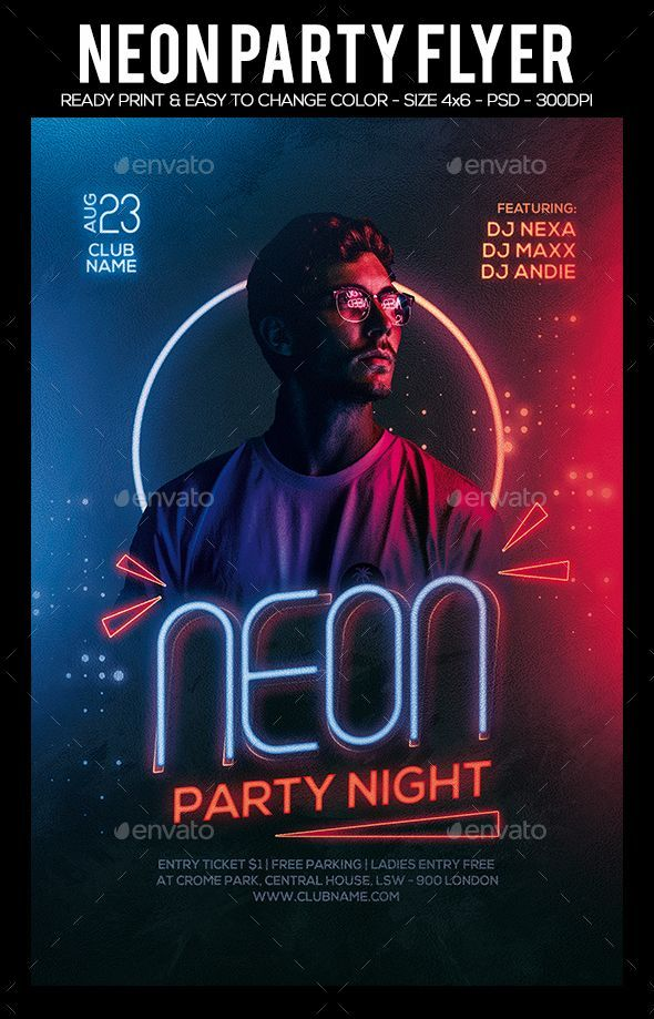 Neon Night Party Flyer Template PSD  Download | Flyers