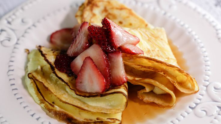 Curtis Stone's Crêpes with Homemade Ricotta and Maple-Strawberry Syrup Recipe   Rachael Ray Show