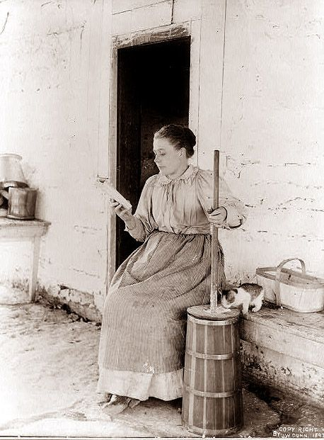 We love this woman! Reading while churning butter (with cat taking care of splashes), 1897