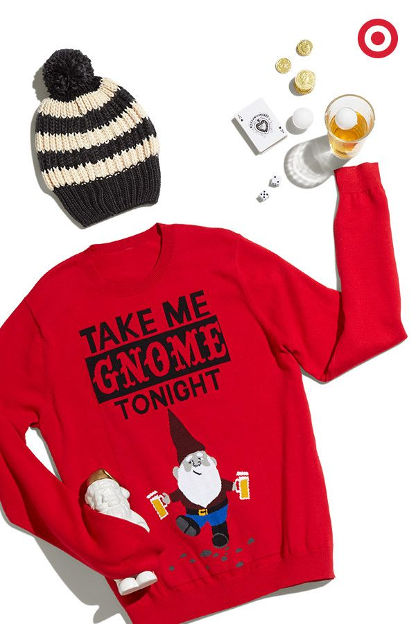This gift has party guy written all over it. Gnome ugly sweater and all, consider his Christmas outfit complete.