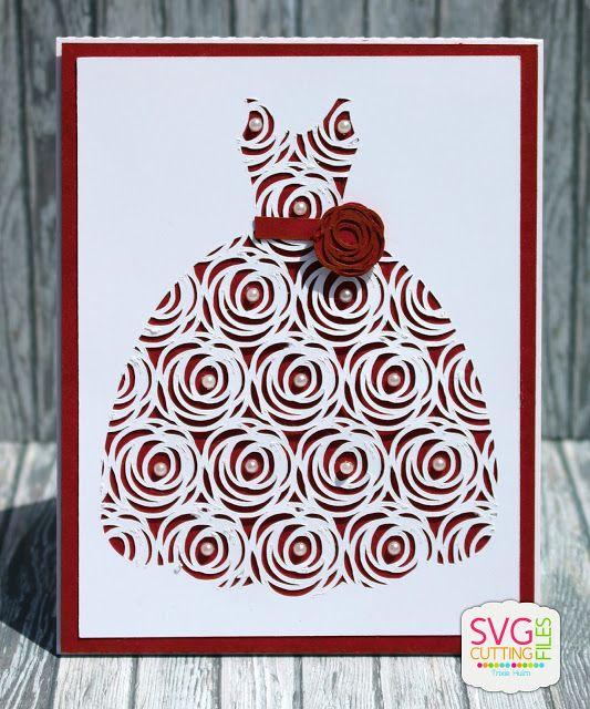 Pink Glitter Studio: Wedding Card bride dress card