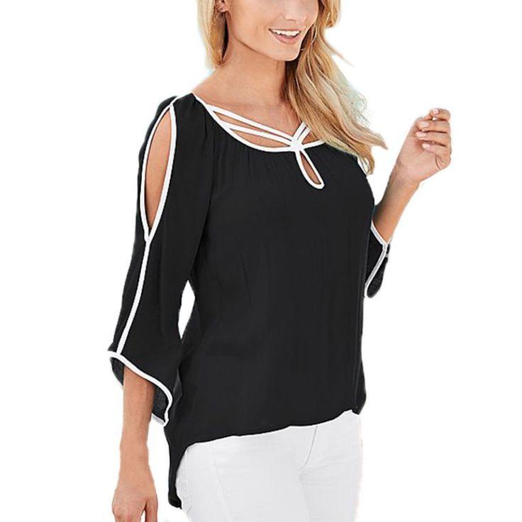 2016 Primavera Estate Donna Chiffon Shirt Solid Casual Camicette irregolari Parti Superiori Allentate