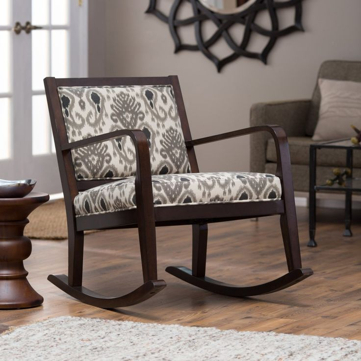 Belham Living Wooden Upholstered Ikat Rocking Chair - Indoor Rocking Chairs at Hayneedle