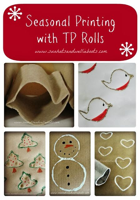 Christmas Shapes made with TP Rolls from Sun Hats & Wellie Boots