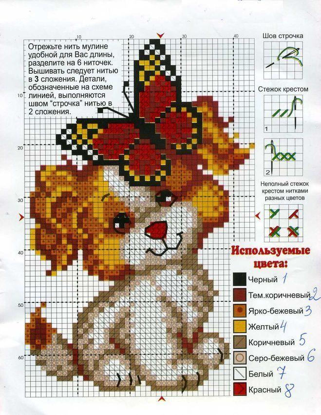 Вышиваем крестом собак разных пород по схеме