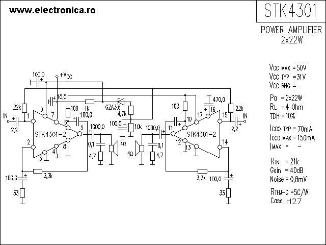 Stk4301 Power Audio Amplifier Schematic
