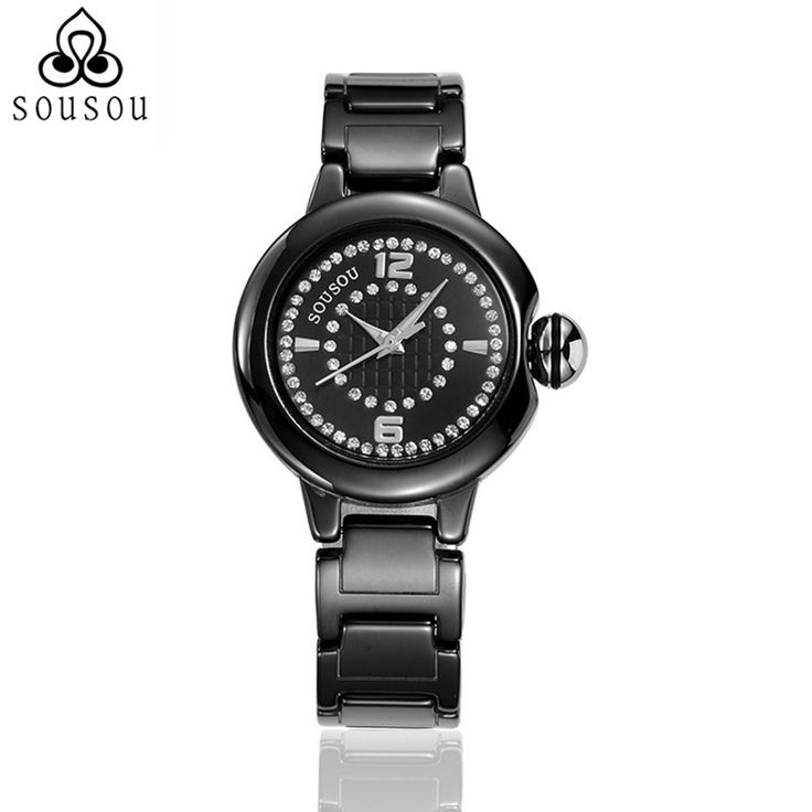 SOUSOU Black/White Ceramic Watches For Women Montre Femme De Marque Ladies Wristwatch Reloj Mujer