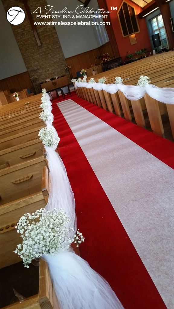 Montreal Wedding Ceremony: Baby's Breath on Church Pews, Pew Markers with Tulle Down the Aisle - A Timeless Celebration Montreal Decorator & Florist