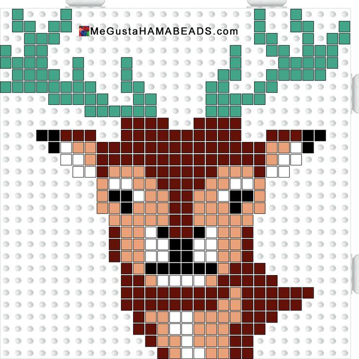 Deer hama perler beads pattern.