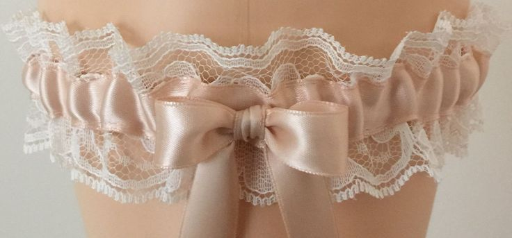 Prom Garters....Blush and Ivory Lace Wedding Garter, Bridal Garter
