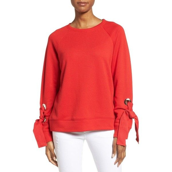 Petite Women's Halogen Tie Sleeve Sweatshirt ($35) ❤ liked on Polyvore featuring tops, hoodies, sweatshirts, petite, red bloom, tie top, red lace up top, crew-neck sweatshirts, crewneck sweatshirt and eyelet top