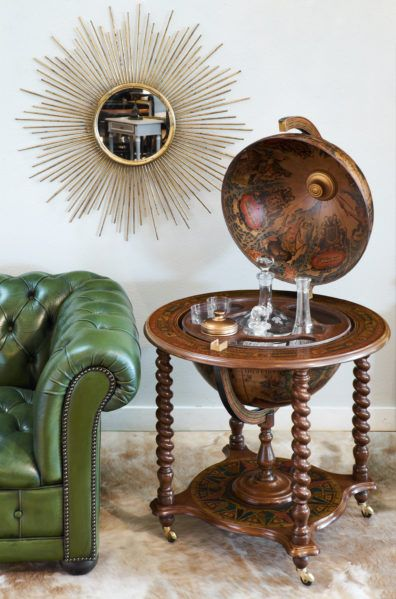 Vintage Globe Bar Cart Side Table                              …