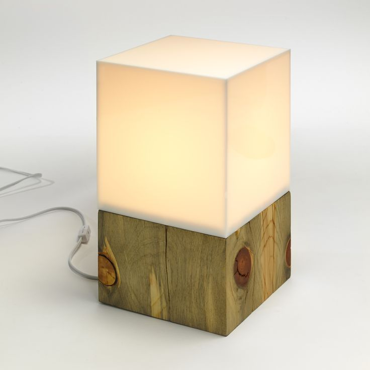 Aura Lamp: Blue-stained pine base with acrylic top