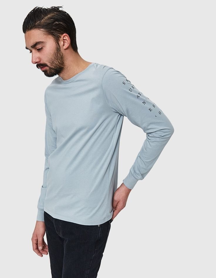 Long sleeve tee from Saturdays NYC in Stone Blue
