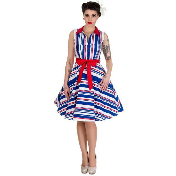 Šaty Dolly and Dotty Poppy Red Blue Stripe Krásné šatky v námořnickém stylu za skvělou cenu! Veselé barvy, skvělý košilový střih se zapínáním na drobné knoflíčky, límeček, rozšířená sukně, nejsou nabírané v pase, nepřidávají tedy objem a díky strečovému materiálu (95% bavlna, 5% elastan) perfektně padnou a jsou příjemné na nošení. Součástí červený pásek, zapínání na boční krytý zip. Šaty můžete (ale nemusíte) doplnit spodničkou z naší nabídky, třeba v bílé nebo červené barvě.