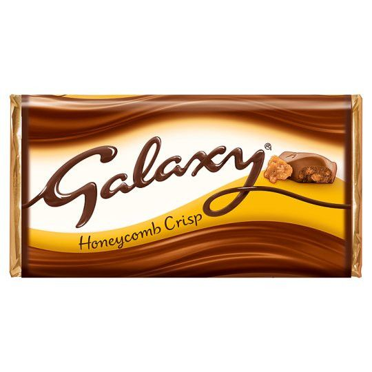 Milk chocolate with crisp honeycomb pieces (8.0%) Smooth and creamy Galaxy® chocolate with crispy honeycomb pieces. Why have cotton when you can have silk?® Pack Size: 114g - Suitable for vegetarians
