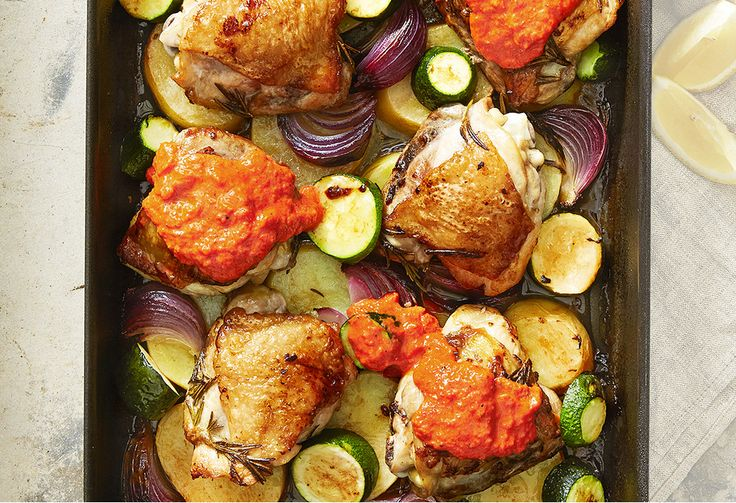 The cheat's edition of the roast: it has all the yumminess of a roast dinner but without all the hassle! It's easy-to-make capsicum sauce makes a unique dish.