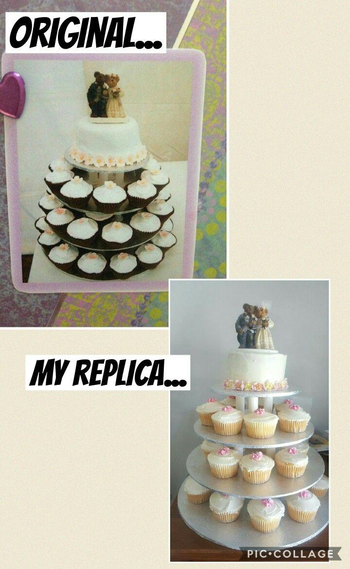 10th Anniversary Renewal of Vows::Original Wedding Cake replicate:: Vanilla::Chocolate filling::Vanilla cupcakes::Fondant flowers::