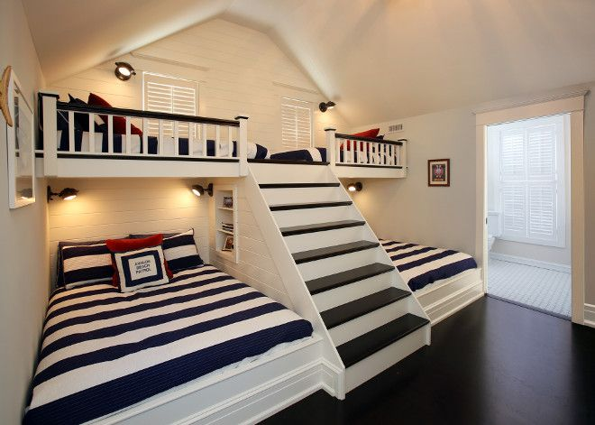 Bunkroom with built in ladder. Asher Associates Architects This is clever, great for a child's dormitory room, probably not ideal for every day or for us!