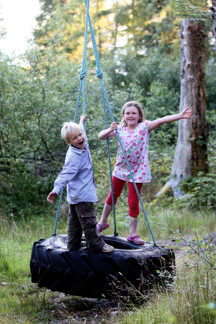 Tyre swing in Inverie woods Knoydart www.knoydarthouse.co.uk