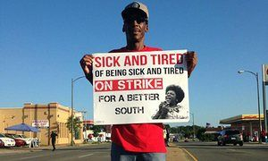 Workers rally around wages, race and plans to protest presidential debates | US news | The Guardian