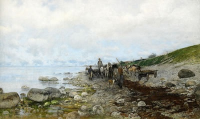 Victor Forssell (1846-1931): Kustvy med fiskare