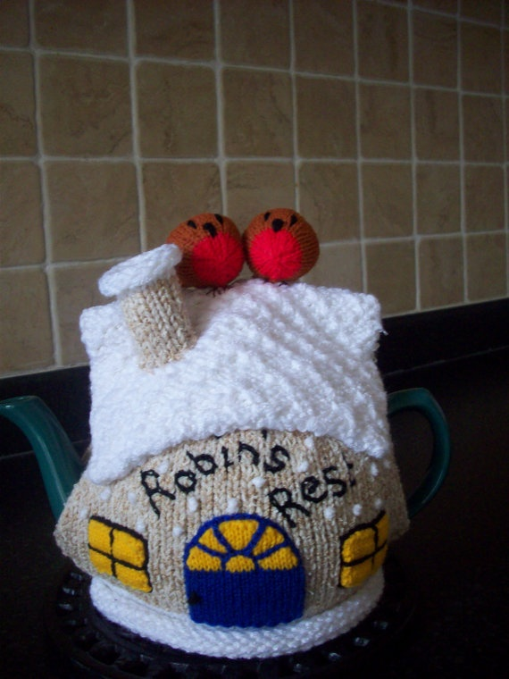 Knitted Tea Cosy Cozy Cosie Christmas Cottage with by rosiecosie, £12.99