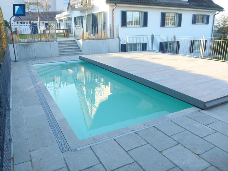 Sliding swimming pool cover and terrace, movable pooldeck