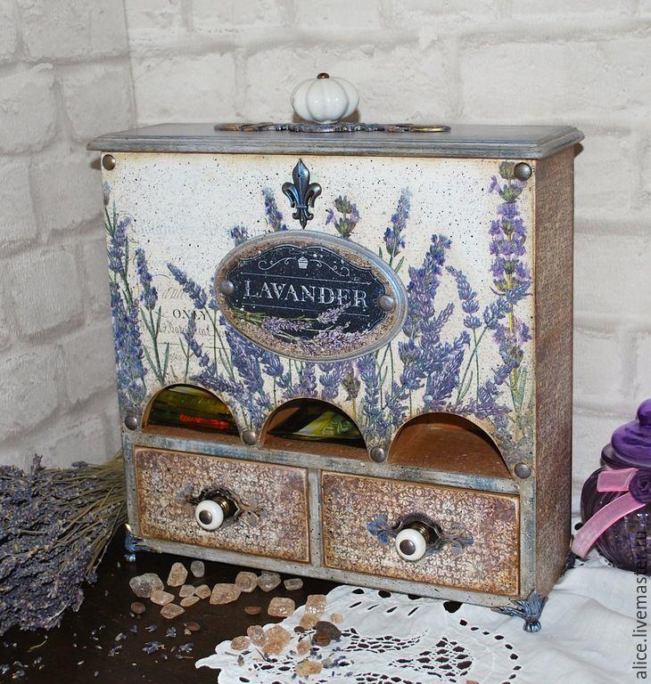 """Купить Чайный шкафчик """"Лавандовый чай"""" - васильковый, лавандовый, лавандовый цвет, лавандовые поля"""
