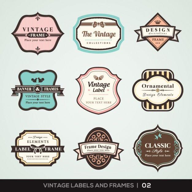 Etichette d'epoca e raccolta telai Free Vector
