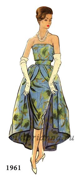 Dress with draped corset based (Pattern - scheme) color photo print ad model magazine vintage fashions style illustration gown floral green blue yellow strapless sheath wiggle with full over skirt 60s