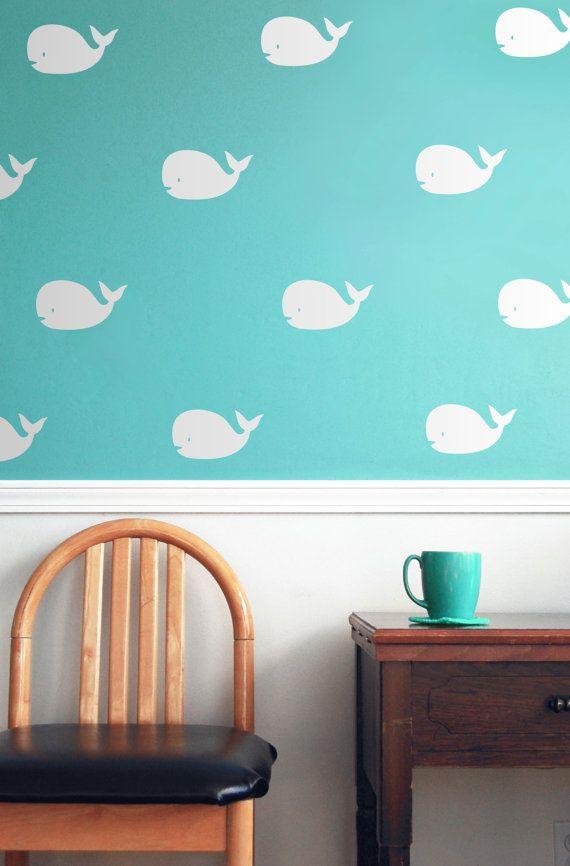 Baby decor. Nursery Decor. Whale art nursery wall decals nursery decor nautical by Jesabi
