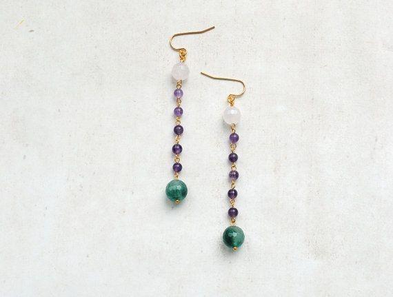 Gemstone earrings green jade earrings pink quartz by elfinadesign