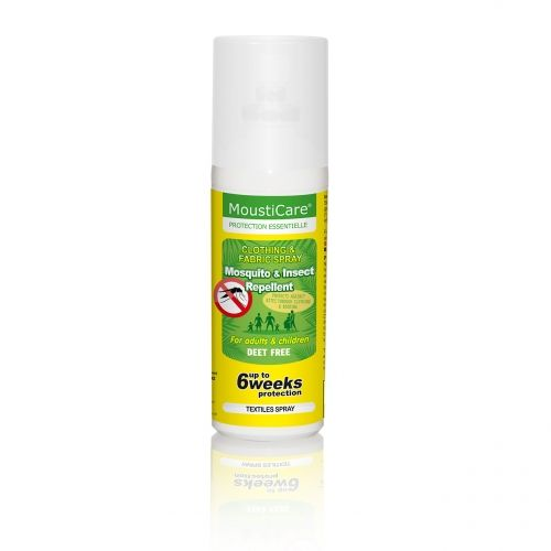 Mousticare textile spray is designed to protect you from bites that pass through clothing or bedding. This spray provides protection for up to 6 weeks against mosquitos.   Ideal for use on clothing, bedding, mosquito nets, strollers, curtains, tents, backpacks, socks etc.