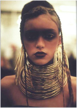 Concept 3 (Mask eyes) - Dark faded eyes with accessories/ alternatively do faded eyes with the gold leaf   ....Alexander McQueen show make-up.