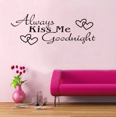 Amazon com wowstickers black always kiss me goodnight wall decal sticker home